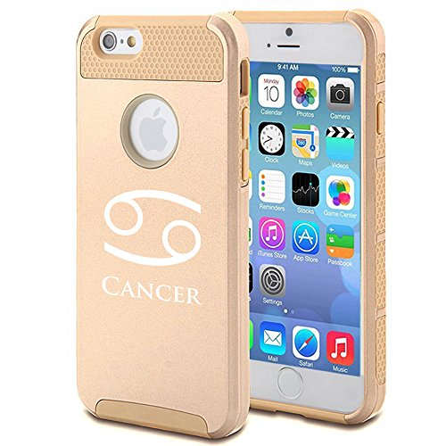 For Apple iPhone 7 Shockproof Impact Hard Soft Case Cover Horoscope Zodiac Birth Sign Cancer (Gold)