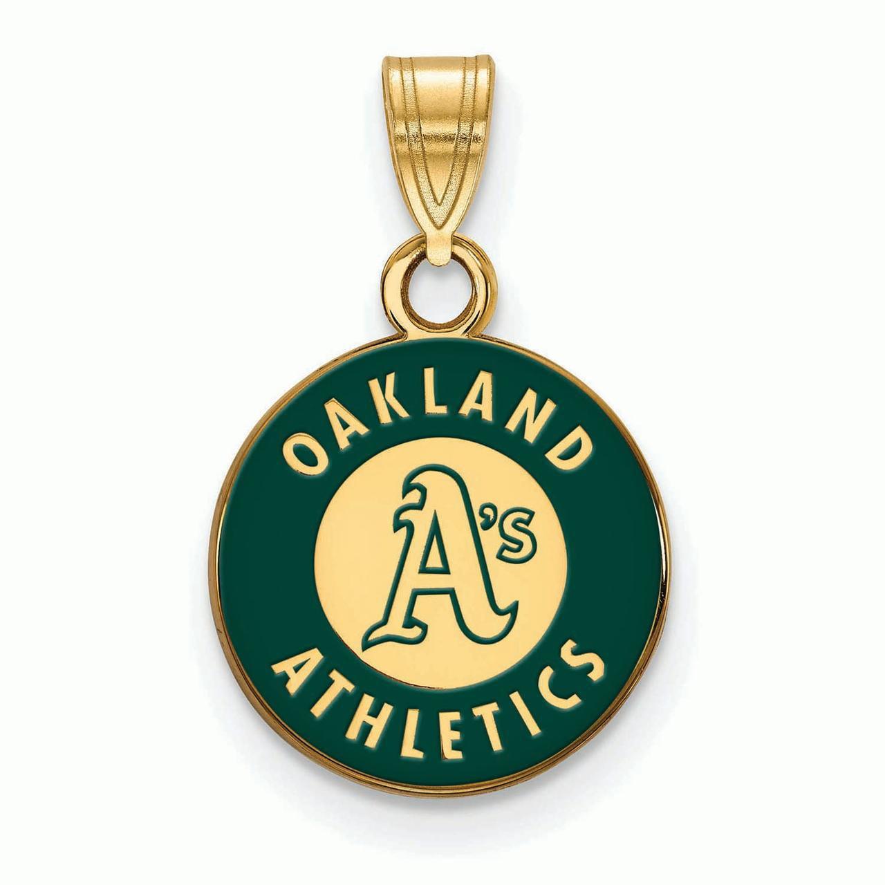 Oakland Athletics Women's Gold-Plated Enamel Pendant - No Size