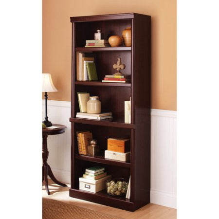 5 Shelf Cherry Bookcase Wooden Book Case Storage Shelves Wood Bookshelf Library