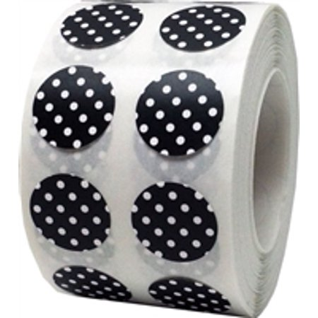 Black with White Polka Dot Circle Stickers, 0.5 Inch Round, 1000 Labels on a - Black Dot Stickers