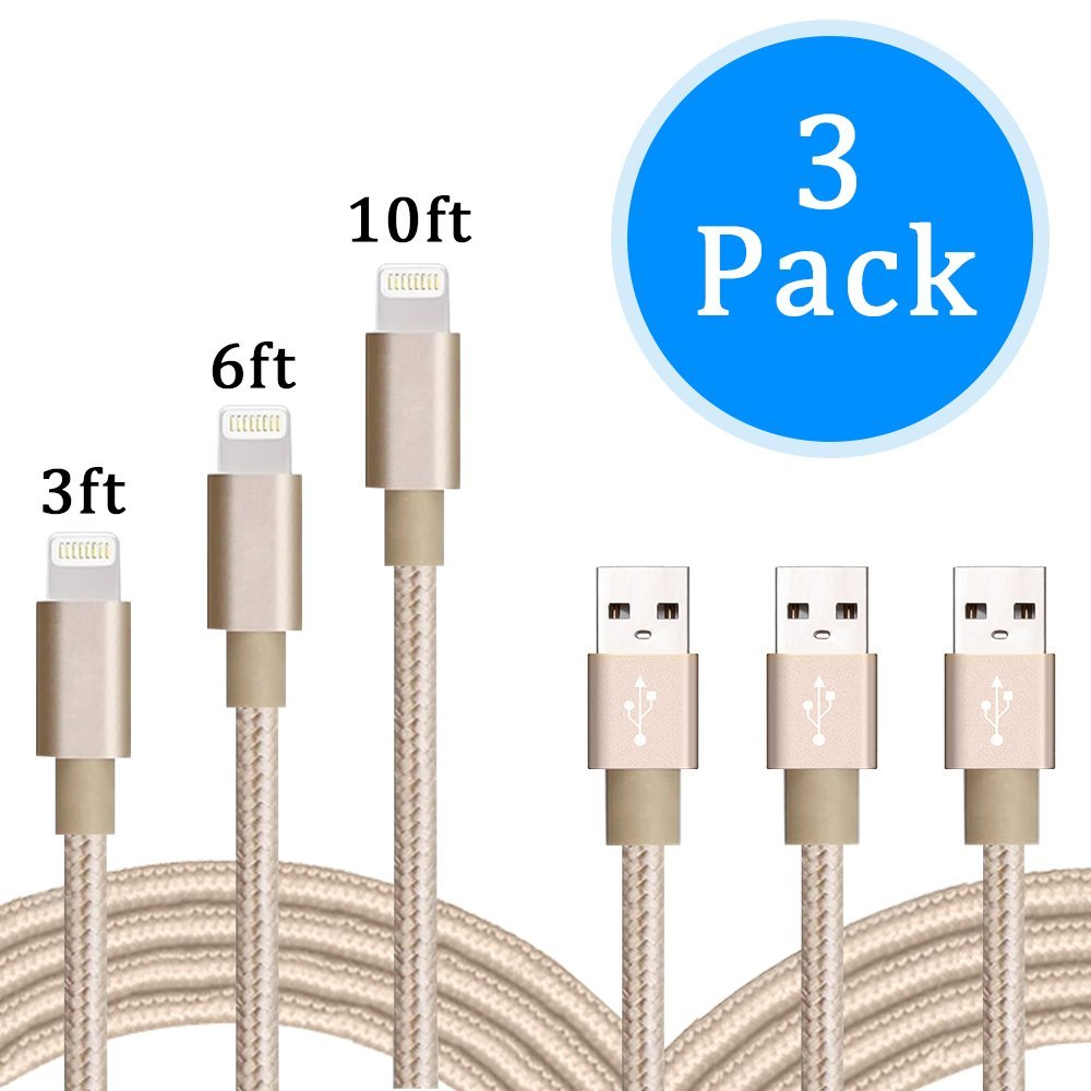 Lightning Cable, 3pack 3FT 6FT 10FT Nylon Braided Cord iPhone Cable to USB Charging Charger for iPhone 7, 7 Plus, 6S, 6 Plus, SE, 5S, 5, iPad Air/Mini, iPad Pro, iPod (Gold 3ft 6ft 10ft)