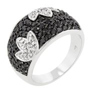 Icon Bijoux R08113T-C03-06 Black And White Cocktail Ring (Size: 06)