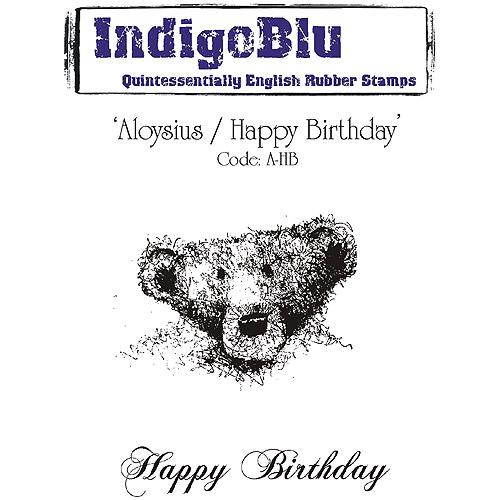 "IndigoBlu Cling Mounted Stamp 5' x 7"", Aloysius/Happy Birthday"
