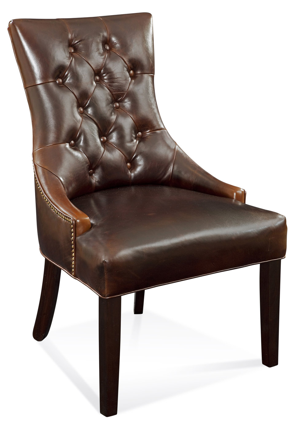 Bassett Fortnum Tufted Nailhead Parsons Chair in Leather (Brown Leather) by
