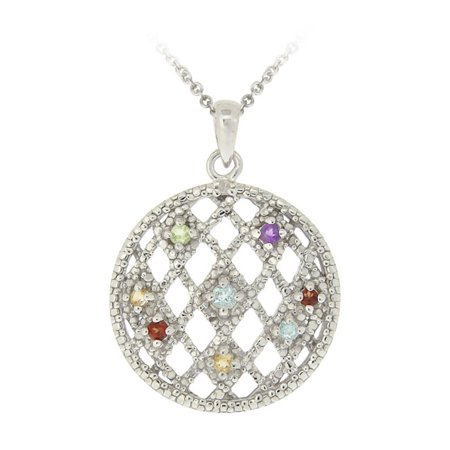 - Sterling Silver Multi Gemstones & Diamond Accent Weave Pattern Circle Pendant