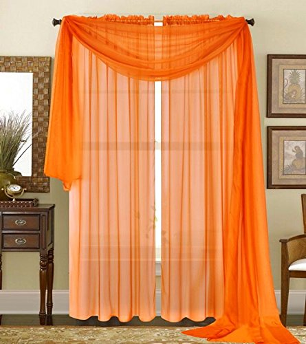 "Qutain Linen Solid Viole Sheer Curtain Window Panel Drapes 55"" x 95 inch - Orange"
