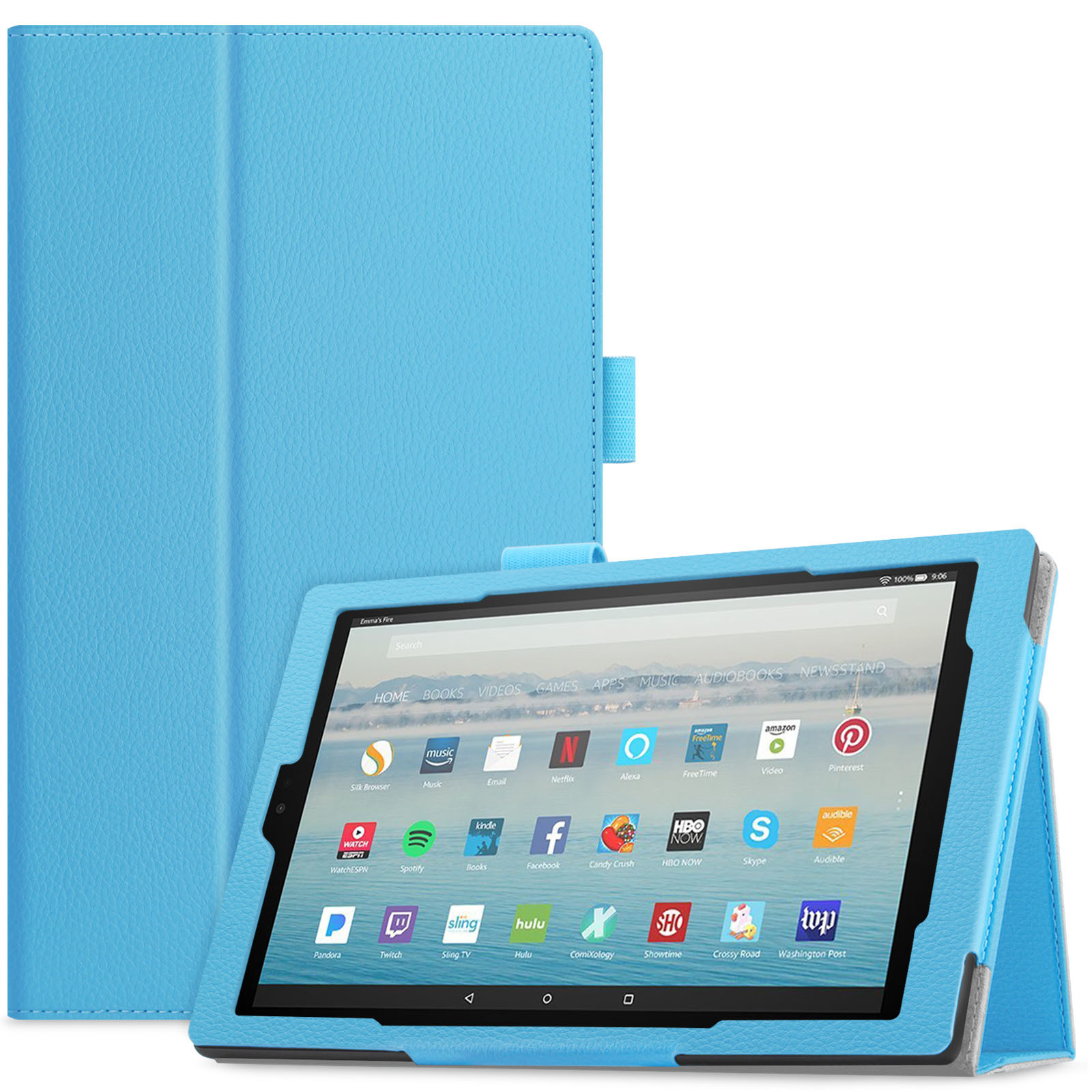 Infiland Folio Smart Case Cover with Auto Sleep/ Wake for All-New Amazon Fire HD 10 (7th Generation, 2017 Release ) Tablet, Blue