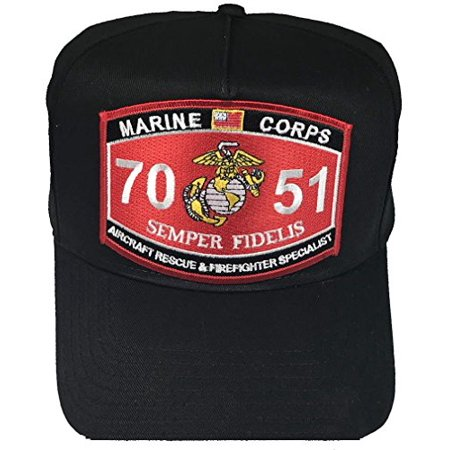 Marine Corps 7051 Aircraft Rescue and Firefighter Specialist (CFR) MOS Patch HAT - BLACK - Veteran Owned Business ()