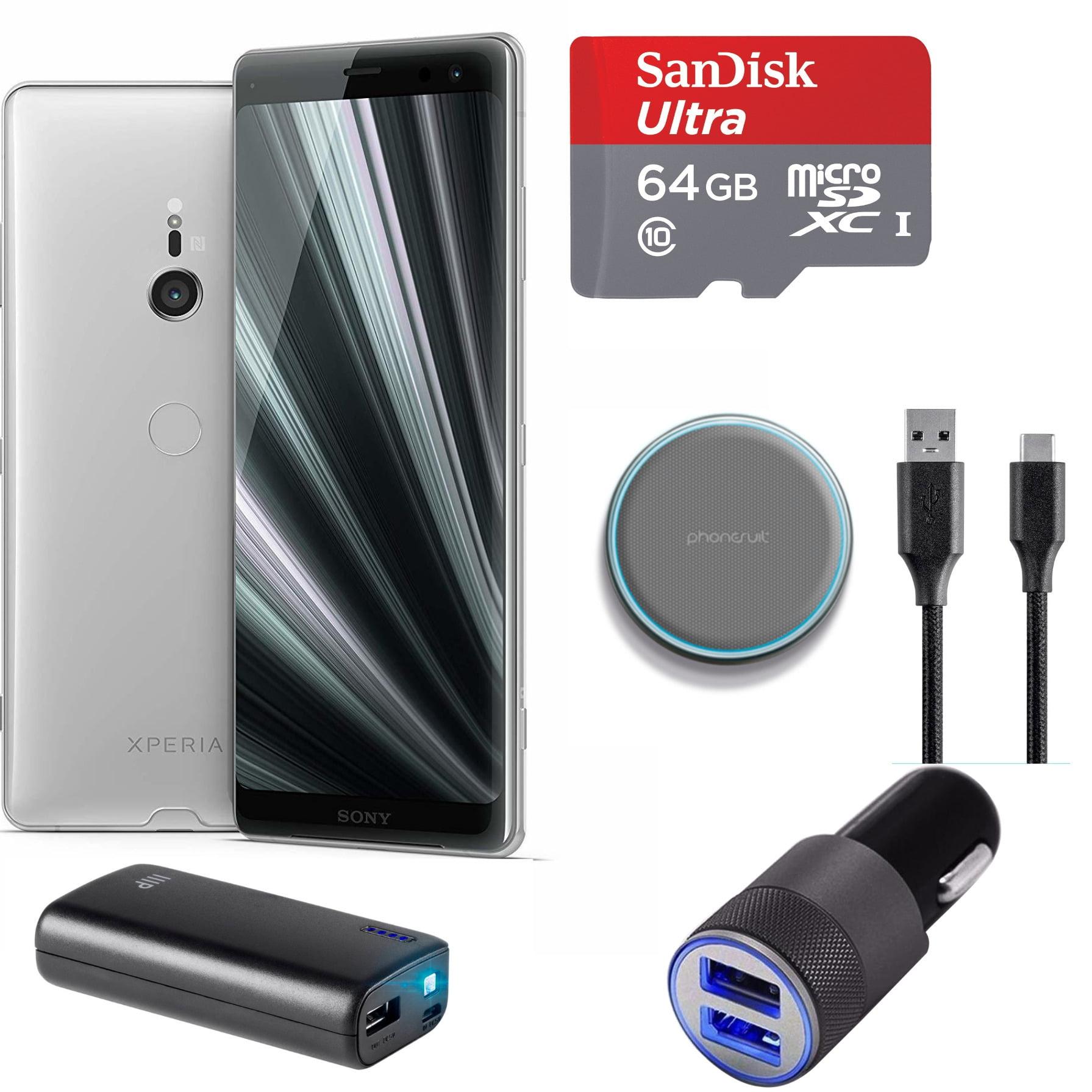 Sony XPERIA XZ3 Unlocked Smartphone (White Silver) Charging Bundle