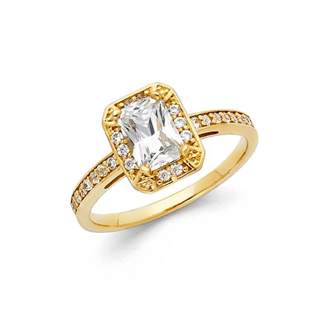 Gold Fancy Italian (FAncy Emerald Cut Halo CZ 14k Yellow Solid Italian Gold Bridal Proposal Wedding Infinity Engagement Ring Size 7 Available All Sizes )