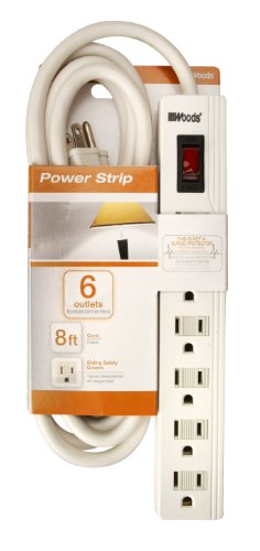 woods 6 outlet power strip with 8 foot power cord sliding safety rh walmart com