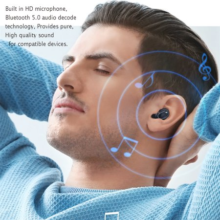 Stereo Wireless Bluetooth Earbud. Sweatproof Headset . Built-in Mic for Android and iPhone Smart Phones.(with Charging Case) - image 1 of 17