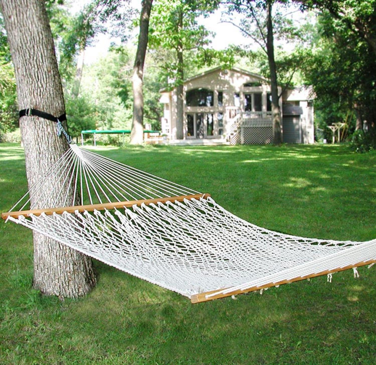 "82"" x 58"" Natural Cotton Rope Double Hammock"