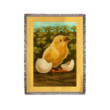 Easter Chick - Oil Painting - Lantern Press Artwork (60x80 Woven Chenille Yarn Blanket)