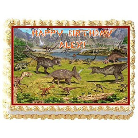 Dinosaur Theme Personalized Edible Cake Topper Image -- 1/4 Sheet](Carnival Theme Cake)