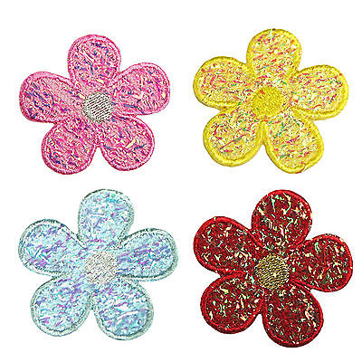 Lily Iridescent Daisy Flower Self Adhesive Applique Sticker Patch Red Blue