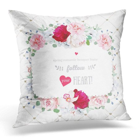 CMFUN Floral Orchid Peony Anemone Rose Camellia Flowers Simple with Diagonal Lines and Small Princess Crowns Pillow Case Pillow Cover 18x18 inch