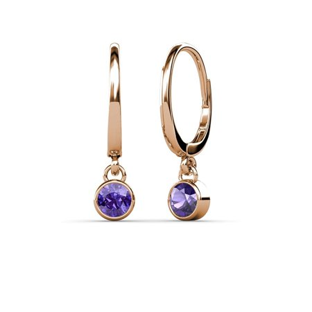 Iolite 4mm Bezel Set Solitaire Dangling Earrings 0.50 ct tw in 14K Rose Gold (Dangling Iolite Earrings)