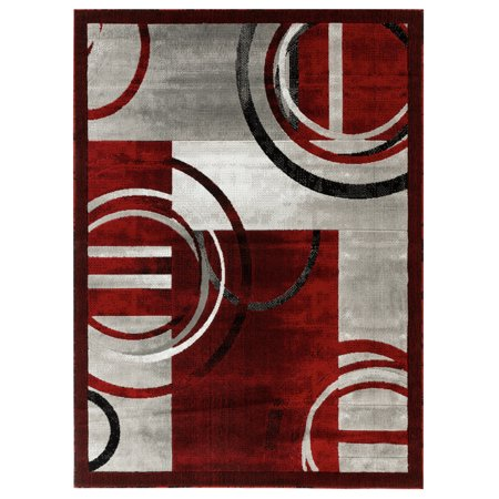 Newport Collection - Red, Gray Abstract Modern Area Rug ()