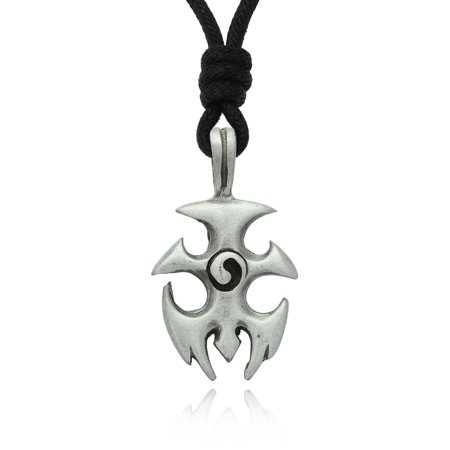 Yin Yang Tribal Design Silver Pewter Charm Necklace Pendant Jewelry With Cotton - Yang Design