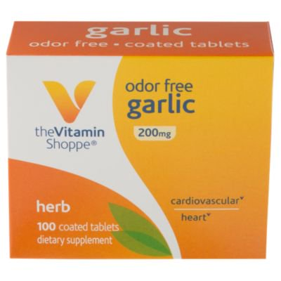 The Vitamin Shoppe Odor Free Garlic 200MG, Herbal Supplement that Supports Cardiovascular Health, Coated Tablets of Natural Fresh, Raw Garlic with Allicin, Easy To Swallow (100 Tablets)