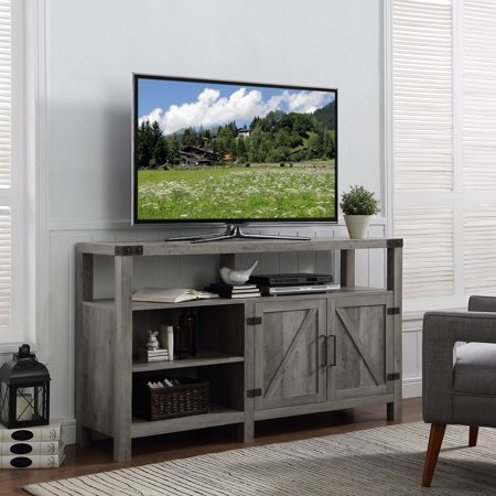 "Manor Park Modern Farmhouse Tall Barn Door TV Stand for TVs up to 64"" - Grey Wash"