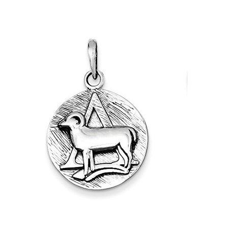 Aries Zodiac Pendant - .925 Sterling Silver Antique Zodiac Aries Horoscope Charm Pendant