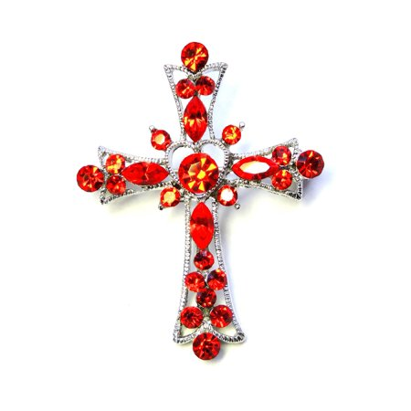 Faship Black Crystal Cross Crucifix Pin - Cross Pins