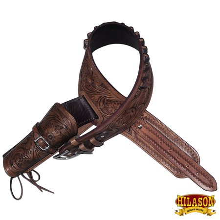 "46"" HILASON WESTERN RIGHT HAND GUN HOLSTER RIG 44/45 CAL TOOLED LEATHER COWBOY"