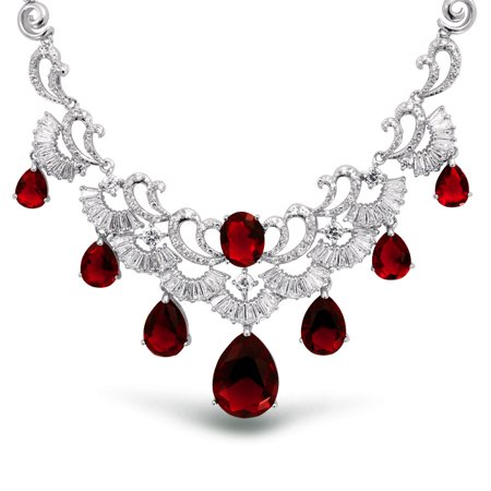 Deco Style Heart - Deco Style Red CZ Multi Teardrop Baguette Simulated Ruby Prom Statement Pageant Necklace For Women Silver Plated Brass