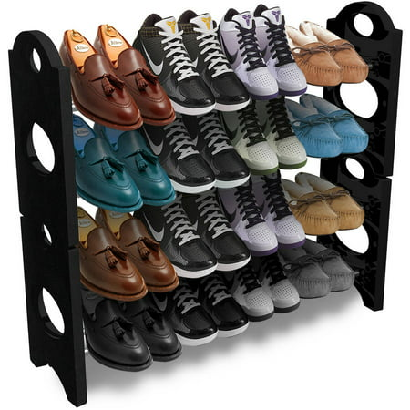 Sorbus Shoe Rack Organizer Storage, Holds up to 20 Pairs of Shoes, Stackable and Detachable,(Black) Plastic Shoe Rack