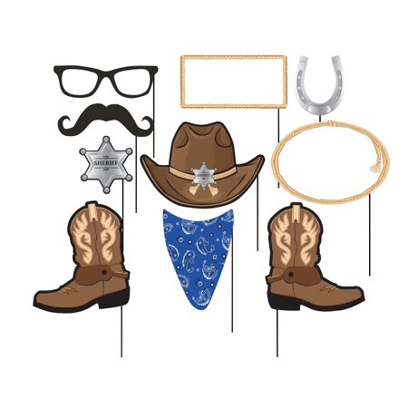 Creative Converting Blue Bandana Cowboy Photo Booth Props, 10 ct