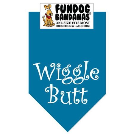 Fun Dog Bandana - Wiggle Butt - One Size Fits Most for Med to Lg Dogs, turquoise pet scarf