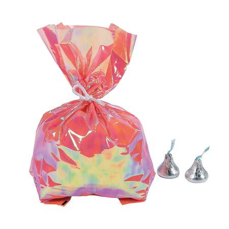 Fun Express - Mermaid Sparkle Iridescent Cello Bag for Birthday - Party Supplies - Bags - Cellophane Bags - Birthday - 12 Pieces - Mermaid Supplies
