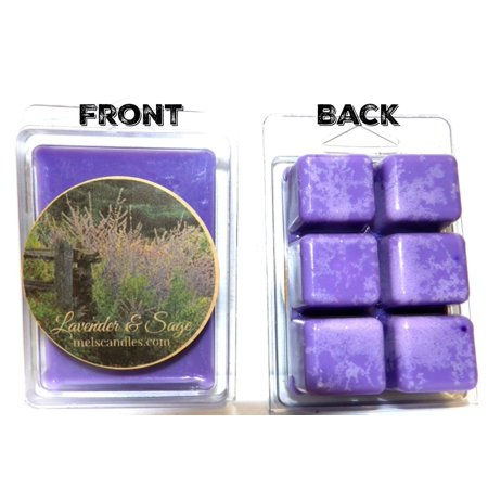 Lavender and Sage 3.2 Ounce Pack of Soy Wax Tarts - Scent Brick, Wickless (Wickless Soy Candles)