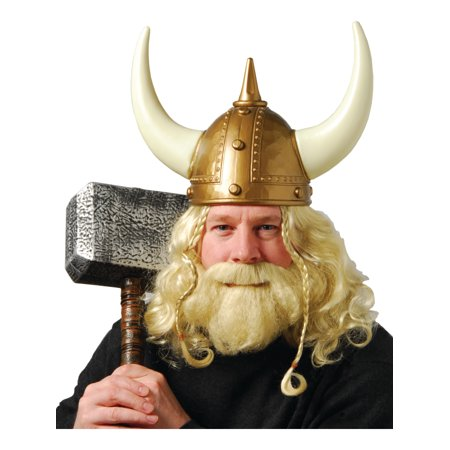 Blonde Brunette Halloween Costumes (Viking Raider Savage Norse Blonde Wig & Beard Set Costume)