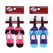 American Tourister Striped Flip Flop Tag - Pink and blue