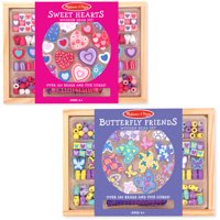 Melissa & Doug Sweet Hearts and Butterfly Friends Bead Set of 2, 250+ Wooden Beads