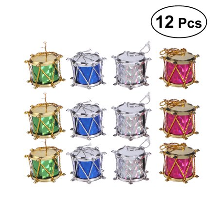 12pcs 2cm Colorful Glitter Mini Drum Christmas Tree Ornaments Hanging Decoration Pendant Christmas Holiday Wedding Party Decor (Assorted Color) (Drum Decorations)