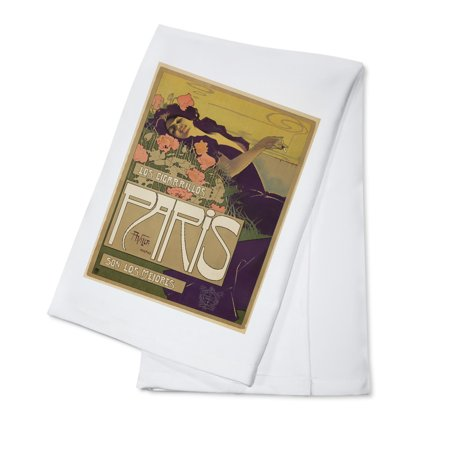 Cigarillos Paris Vintage Poster (artist: Villa) Spain c. 1901 (100% Cotton Kitchen Towel)