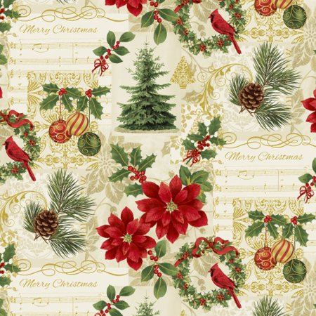 Clearance Sale~Deck the Halls~Christmas Symbols Cotton Fabric by Windham Fabrics - Walmart.com