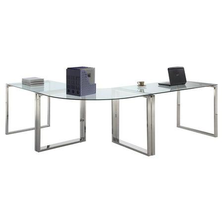 Chintaly Finnigan Modern Glass Computer Desk - Walmart.com