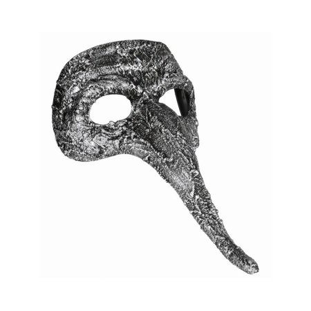 Halloween Textured Long Nose Mask Silver - Halloween Textures