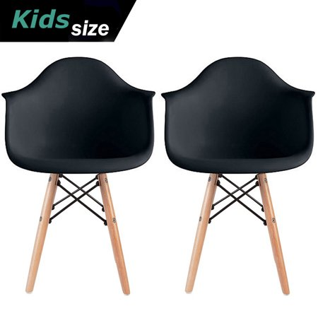 2xhome - Set of 2 Kids Size Black Modern Plastic Chairs With Wood Leg Armchairs - Batman Chair