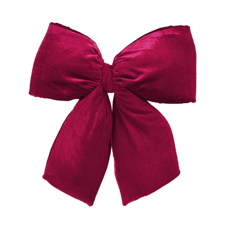 """Large 16"""" x 19"""" Burgundy Red Indoor Velvet Christmas Bow"""