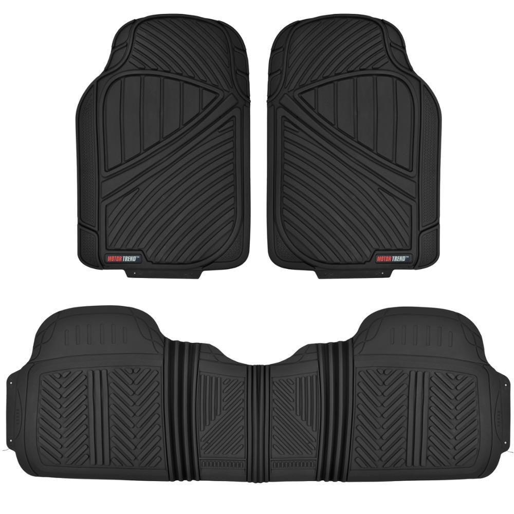 Motor Trend FlexTough Heavy Duty Rubber Car Floor Mats, 100% Odorless & All Weather