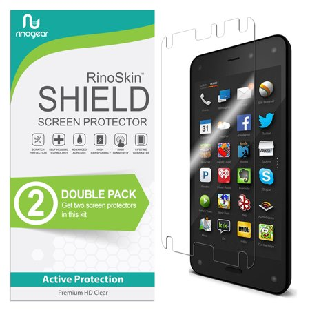 (2-Pack) Amazon Fire Phone (2014) Screen Protector RinoGear Flexible HD Invisible Clear Shield Anti-Bubble Unlimited Replacement