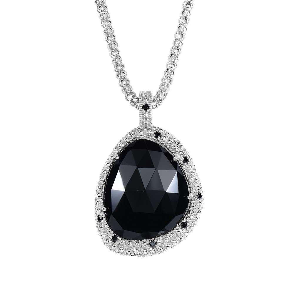 Silver Rhodium Finish 37x24mm Shiny Black Spinel Onyx Teardrop Type Fancy Pendant Necklace - 18 Inch