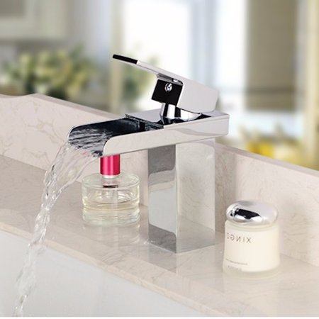 Solid Brass Bathroom Faucet Waterfall Basin Sink Tap Square Mixer Chrome Mono - image 2 of 9