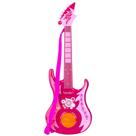 Girls Colorful Electronic Rock 'n' Roll Plastic 24 Inch Musical Guitar Toy Set With Strap for Educational, Pretend Play](Pink Guitar)